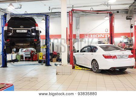 Tula, Russia, June, 5, 2015: Cars in a dealer repair station in Tula, Russia