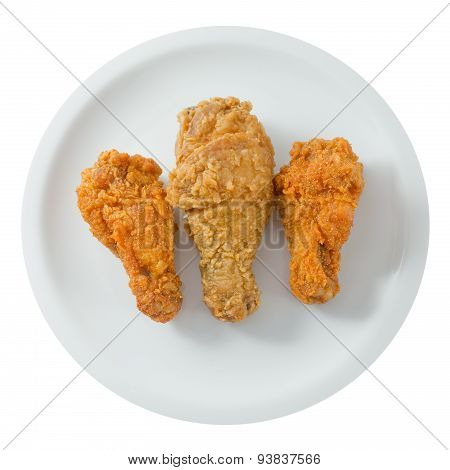 Top View Of Fried Chicken Wings On A White Dish