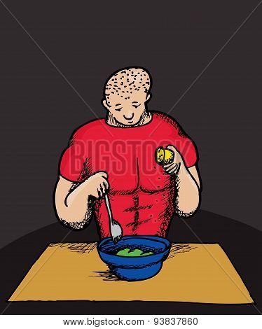 Caucasian Man Cooking