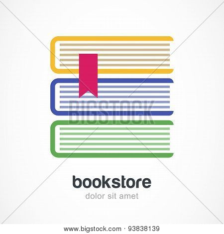 Vector Logo Design Template. Three Multicolor Books