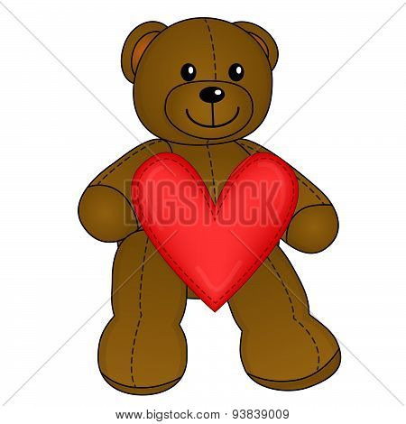 Cute Teddy Bear with red heart