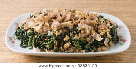 Chinese Stir Fried Jute Leaves With Minced Pork