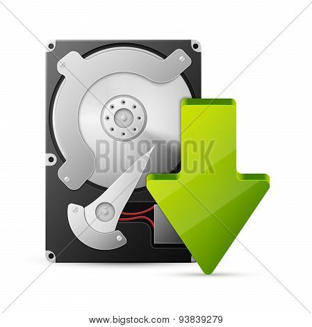 computer download concept with hard drive disk