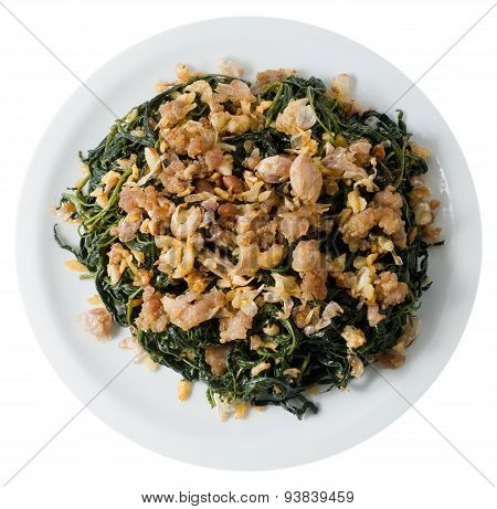 Stir Fried Jute Leaves With Minced Pork On White Background