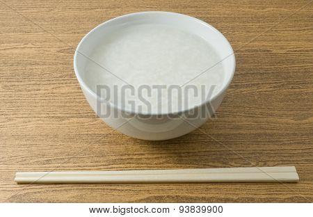 Bowl Of Asian Boiled Rice Or Rice Porridge