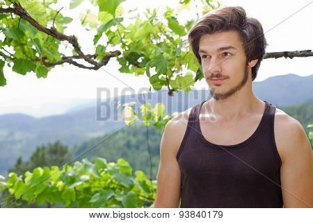 young casual happy man posing, outdoors