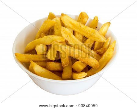French fries in a bowl, isolated