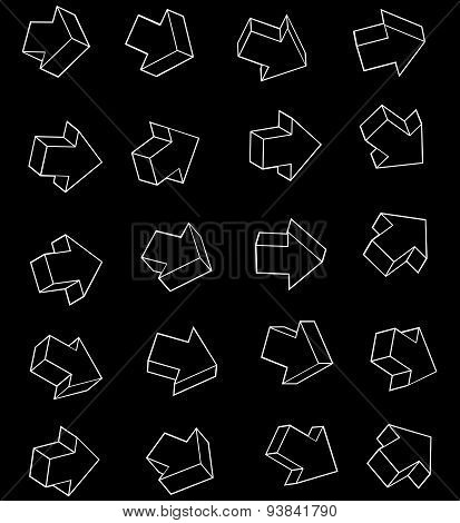 Arrow White Outline Icon Collection Over Black Background