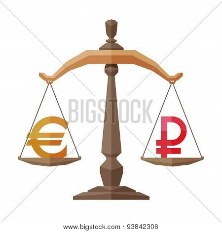 money vector logo design template. banking business or euro and ruble icon.