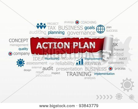 Action Plan Word Cloud. Design Illustration Concepts For Business