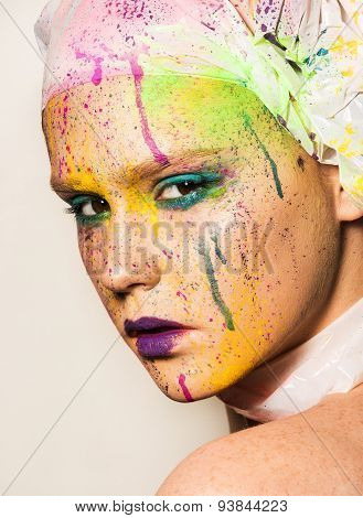 Woman With Colorful Makeup