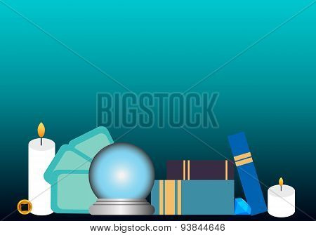 Soothsayer workplace. Esoteric objects, used for fortune telling. Vector illustration