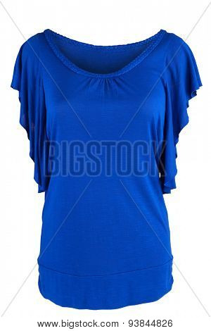Women's tunic in royal blue, isolated on white