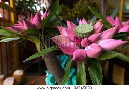 Bunch of lotus buds in a Vietnam shop, used as offerings in Buddhist temples