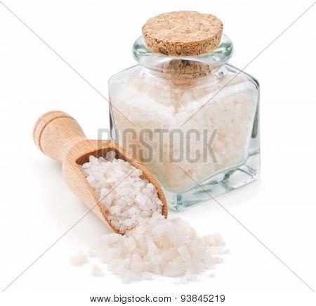 Peruvian pink salt in a glass bottle