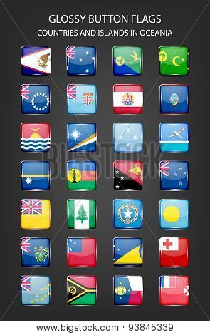Glossy button flags - Oceania. Original colors.