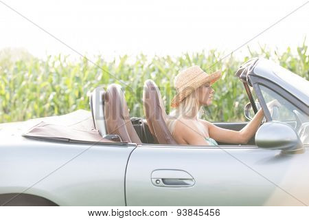 Side view of woman driving convertible on sunny day