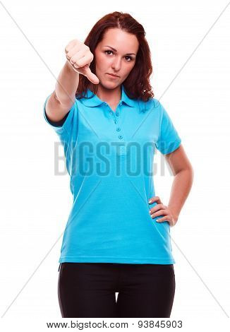 Girl Shows Gesture With Thumb Down On White Background