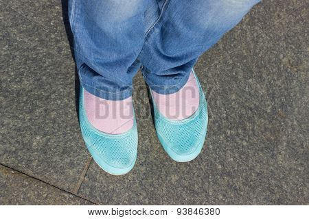 Feet And Shoes. Selfie Image