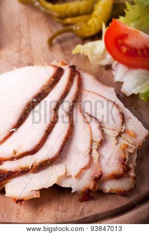 slices of cold roast pork