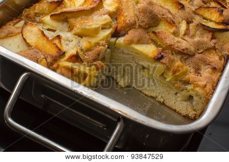 Close up Apple cake in the oven-tray pan from the oven
