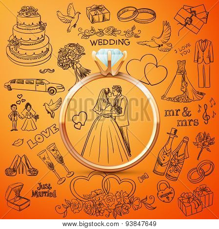 Hand drawn collection of decorative wedding design elements with gold rings