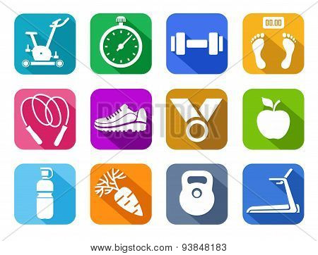 Fitness, Gym, Colored Flat Ic...