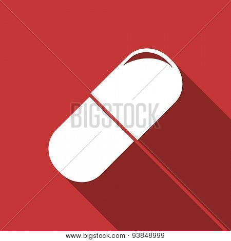 drugs flat design modern icon with long shadow for web and mobile app