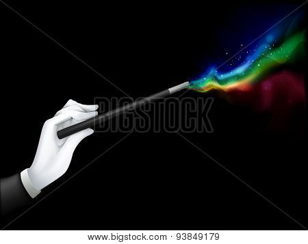 Illustration of a Magician Spouting Colors with His Magic Wand - EPS10