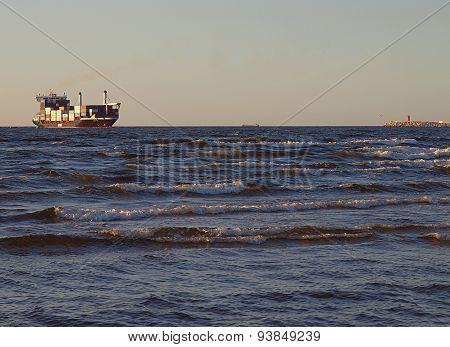 Container ship in Swinoujscie.