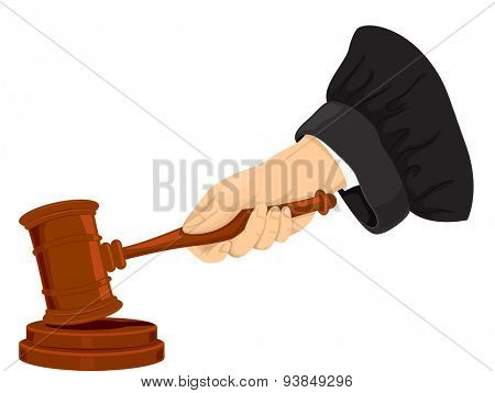 Cropped Illustration of a Judge Pounding His Gavel
