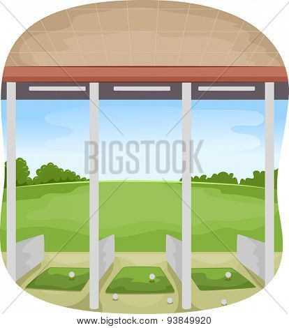 Illustration of a Covered Driving Range with Golf Balls Strewn Around