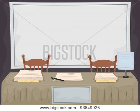 Illustration of a Long Table Set Up for Recruiting New Members