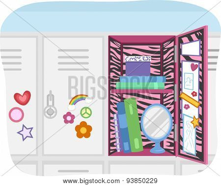 Illustration of a School Locker Customized According to the Preference of the User
