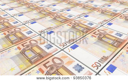 European currency bills stacks background.
