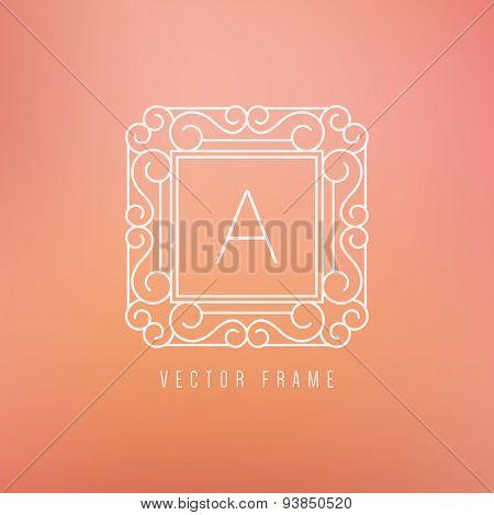Vector mono line frame. Elegant monogram design template.