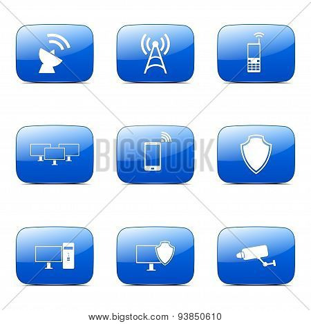 Telecom Communication Square Vector Blue Icon Design Set