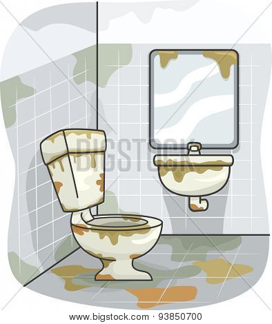 Illustration of a Dirty Toilet Covered in Grime
