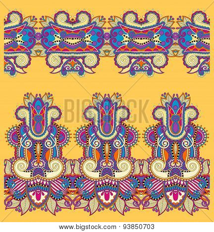 seamless ethnic floral paisley stripe pattern, border set, yello
