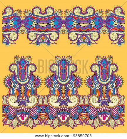 seamless ethnic floral paisley stripe pattern, border set, yello