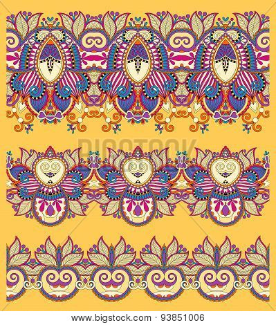 seamless ethnic yellow paisley stripe pattern, border set