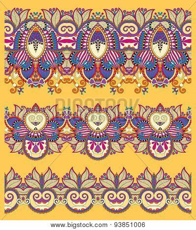 seamless ethnic yellow paisley stripe pattern, border set