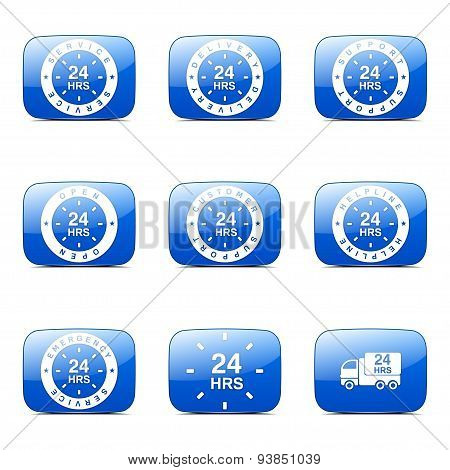 24 Hours Services Square Vector Blue Icon Design Set