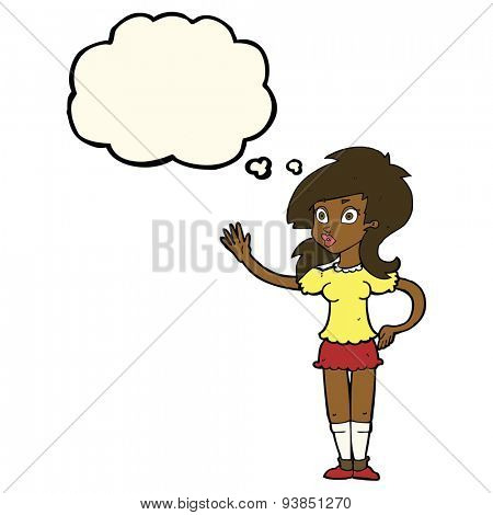 cartoon pretty woman waving for attention with thought bubble