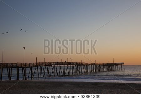 Avalon fishing Pier in Kitty Hawk on the Outer Banks is a popular destination.