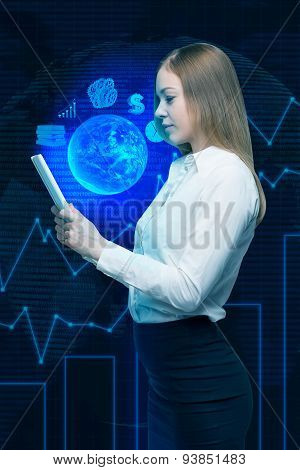 A Lady Is Holding A Digital Document With Hologram Projection Of The Content. Globe, Dollar Sign And