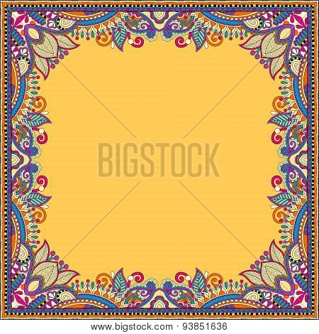 yellow floral vintage frame, ukrainian ethnic style