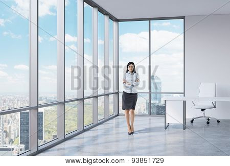 The Brunette Girl With Crossed Hands Is Standing In The Corner Panoramic Office. New York View.