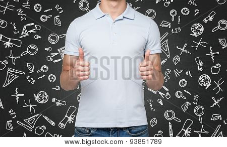 A Person With Thumbs Up. Black Background With Drawn Icons.