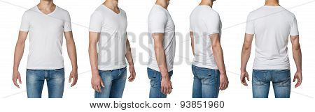 Five Close-ups Of The Man's Bodies In White T-shirt. Isolated On White Background.
